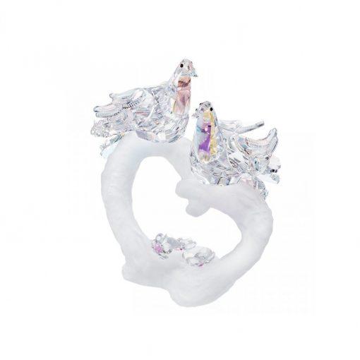 Eternal love krystaldekoration 2 elskende duer på et hjerte