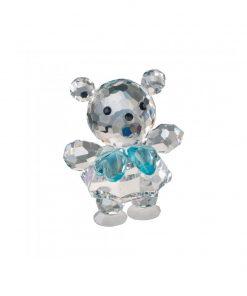 Baby bjørn i tjekkisk krystal med blå sløjfe