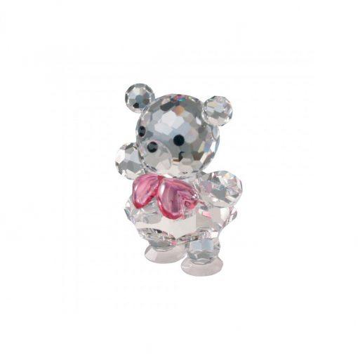 Lille bjørn i tjekkisk krystal med lyserød sløjfe