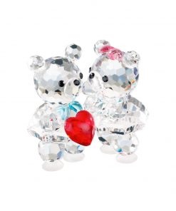 Baby bears in love små forelskede krystalfigurer med rødt hjærte