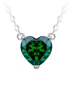 Cher sølv halskæde med vedhæng i miniature smaragd grønt hjerte i kubisk zirkonia