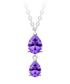 Lyra sølv halskæde med 2 lilla smykkesten i kubisk zirkonia