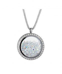 Moonlight halskæde i kirurgisk stål med tjekkisk krystal i medaljon omkranset af kubisk zirkona sten