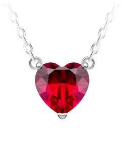 Cher søolv halskæde med vehæng i nimiature rubinrød hjerte i kubisk czirkonia