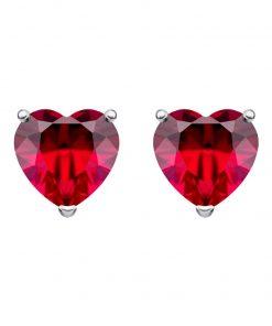 Cher sølv øreringe med små miniature rubinrøde hjerter i kubisk zirkonia