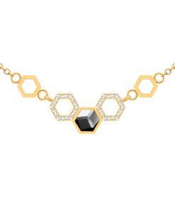 Honeygon forgyldt halskæde i kirurgisk stål og små zirkonia sten