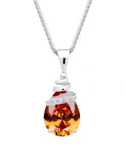Halskæde-sten af krystal-dekoreret med sten i kubisk zirkonia-orange-brunlig-lys