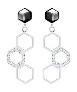 Heoneygon, øreringe, sølv, sort