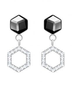 Honeygon øreringe med mørk krystal og små zirkonia sten