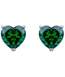 Cher sølv øreringe med små miniature smaragd grønne hjerter i kubisk zirkonia