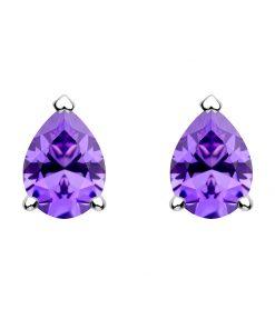 Lyra dråbeformet sølvøreringe med violet zirkonia sten