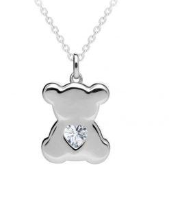 Sølv halskæde med bamse vedhæng med lille hjerte i kubisk zirkonia