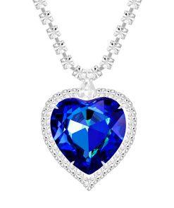 halskæde i rhodineret stål med blåt krystalhjerte som vedhæng p