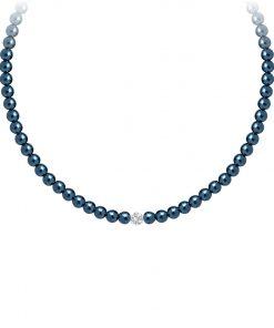 Velvet pearl halskæde (blå matallic) -2