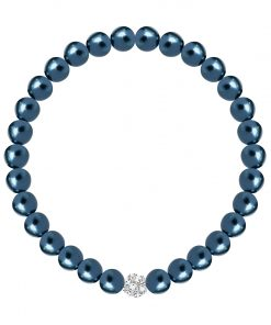 Velvet pearl armbånd (blå metallic)