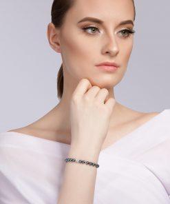 Velvet pearl armbånd (blå metallic) model