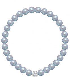 Velvet pearl armbånd med gråblå voksperler og lille krystalkugle.jpg