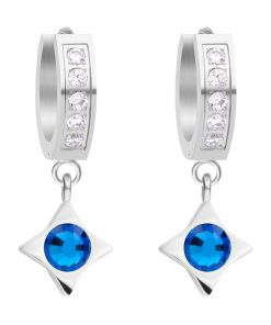 Gemini øreringe i kirurgisk stål med tjekkisk krystal og blå zirkonia sten