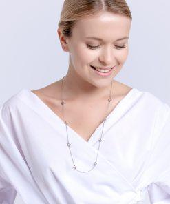 Modelbillede af gemini halskæde med blanke zirkonia sten