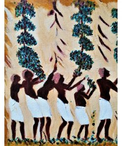 """Maleri """"Ægyptiske vinplukkere"""" af Slagelse kunstner Tom Frandsen inspireret af Goethes farvelære størrelse 34 x 34"""