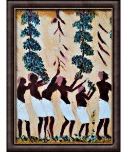 """Maleri """"Ægyptiske vinplukkere"""" af Slagelse kunstner Tom Frandsen inspireret af Goethes farvelære størrelse 34 x 34 i ramme"""