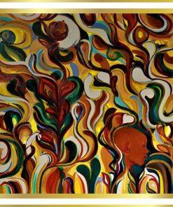 Acrylmaleri af Tom Frandsen i billedramme