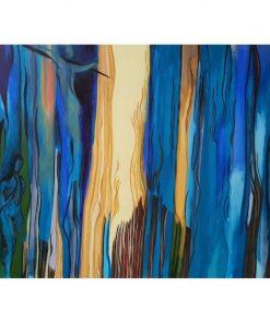 """Fargerigt akrylmaleri """"Purpur"""" af Slagelse kunstner Tom Frandsen størrelse 120 x 100 cm"""